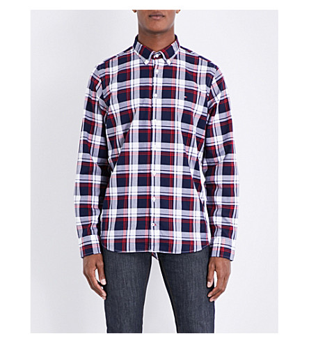 TOMMY HILFIGER Checked slim-fit cotton shirt (Maritime/red