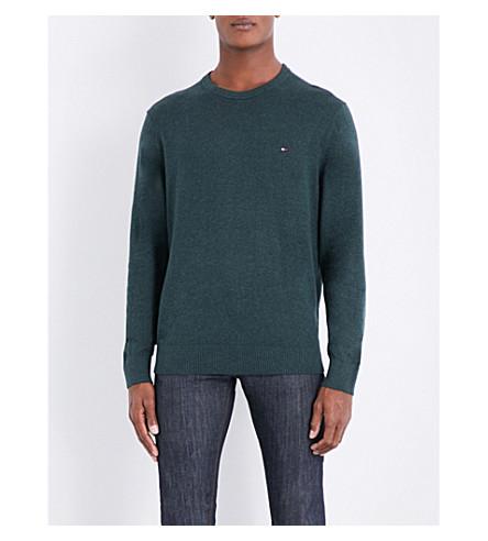 TOMMY HILFIGER Embroidered logo-detail cotton and cashmere-blend jumper (Darkest+spruce+heather