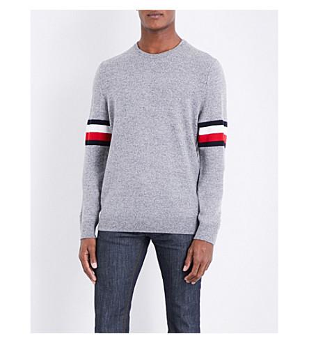 TOMMY HILFIGER O'Connor logo-striped wool-blend jumper (Silver+fog+htr