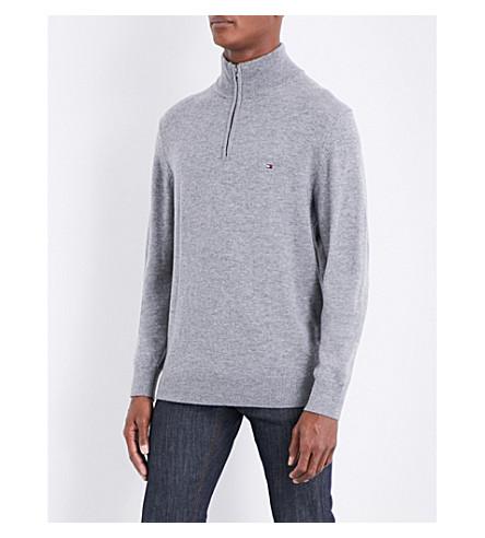 TOMMY HILFIGER Liam embroidered-logo funnel-neck wool jumper (Silver+fog+htr
