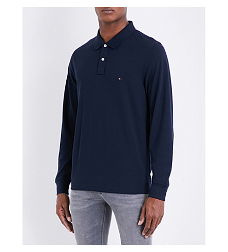 TOMMY HILFIGER Luxury cotton-piqué polo shirt (Sky+captain