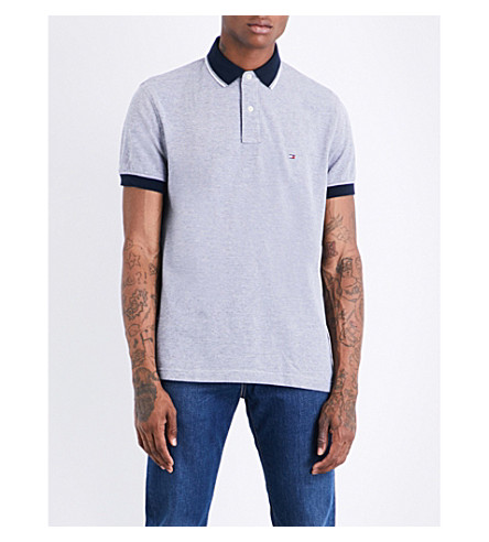 TOMMY HILFIGER Oxford stretch-cotton piqué polo shirt (Sky+captain
