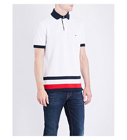 TOMMY HILFIGER Striped-detail slim-fit cotton polo shirt (Bright+white