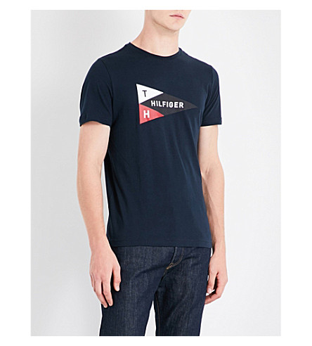 TOMMY HILFIGER Mick logo-print cotton-jersey T-shirt (Sky+captain