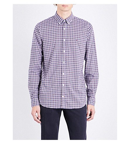 TOMMY HILFIGER Lewisburg checked slim-fit cotton shirt (Estate+blue+/+multi