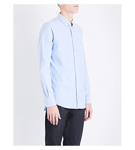 TOMMY HILFIGER Core regular-fit stretch-cotton Oxford shirt (Shirt+blue