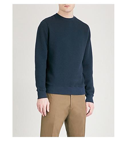 TOMMY HILFIGER Benton ribbed cotton-jersey sweatshirt (Sky+captain