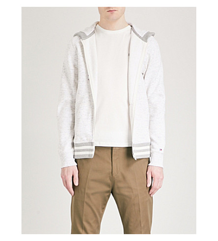 TOMMY HILFIGER Shaylee marled cotton-blend hoody (Snow+white