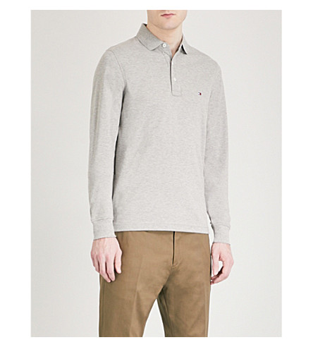 TOMMY HILFIGER Slim-fit cotton-piqué polo shirt (Cloud+htr