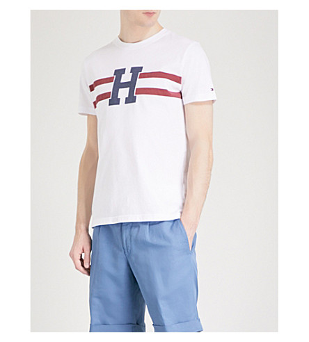TOMMY HILFIGER Brad printed cotton-jersey T-shirt (Bright+white