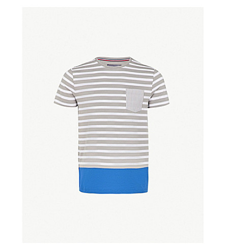 TOMMY HILFIGER Pando striped cotton-jersey T-shirt (Frost+gray