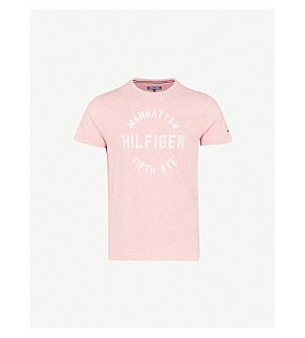 TOMMY HILFIGER Owen flocked brand-print cotton-jersey T-shirt (Rose+tan+heather