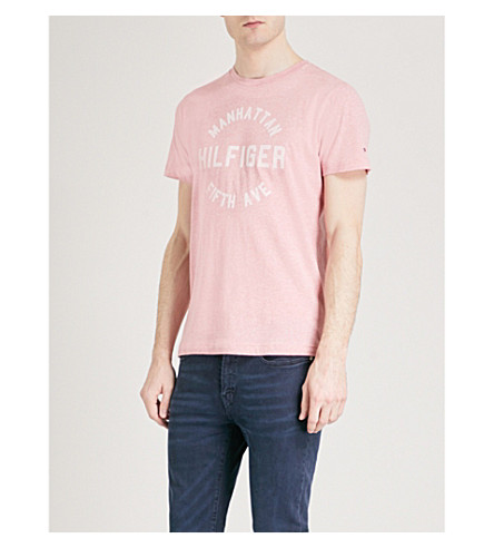 TOMMY HILFIGER Owen flocked brand-print cotton-jersey T-shirt (Rose+tan+heather