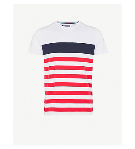 TOMMY HILFIGER Nas striped cotton-jersey T-shirt (Bright+white