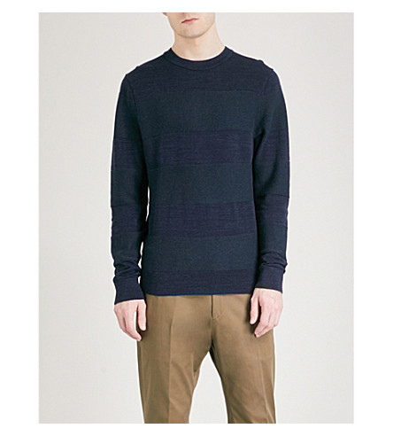 TOMMY HILFIGER Ribbed-panel cotton-jersey sweatshirt (Sky+captain+heather