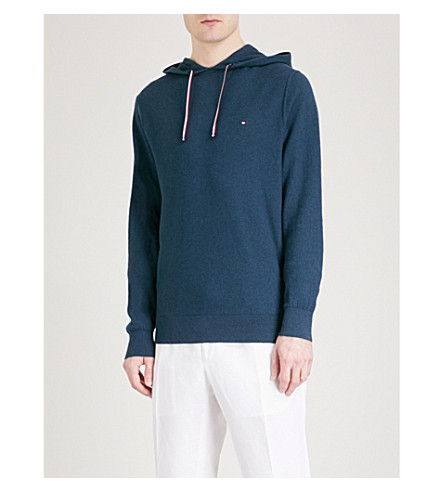 TOMMY HILFIGER Embroidered-logo cotton-blend hoody (Majolica+blue+heather