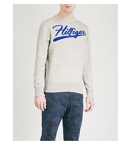 TOMMY HILFIGER Iggy embroidered logo cotton-jersey sweatshirt (Oyster+gray+heather