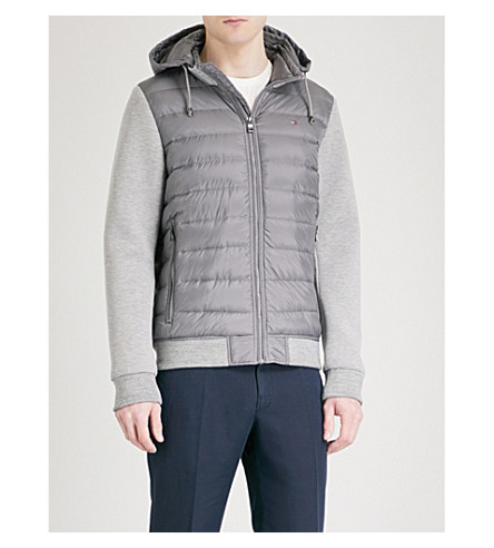 TOMMY HILFIGER Hooded shell, feather and down-blend bomber jacket (Quiet+shade