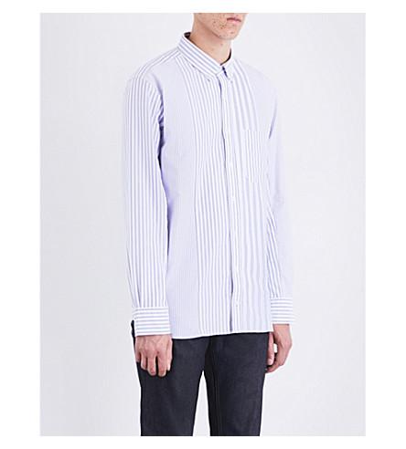 TOMMY HILFIGER Hilfiger Editions regular-fit striped cotton-poplin shirt (Surf+wht