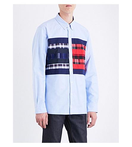 TOMMY HILFIGER Hilfiger Editions regular-fit Flag Logo cotton Oxford shirt (Shirt+blue+/+multi
