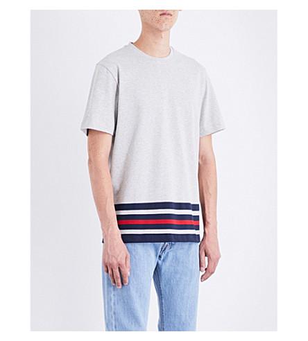 TOMMY HILFIGER Hilfiger Editions Basic Sport striped cotton-jersey T-shirt (Cloud+htr