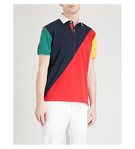TOMMY HILFIGER Aiden regular-fit cotton-piqué polo shirt (Navy+blazer+/+multi