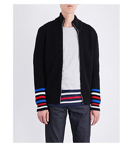 TOMMY HILFIGER Hilfiger Editions stripe-detailed wool-blend cardigan (Flag+black