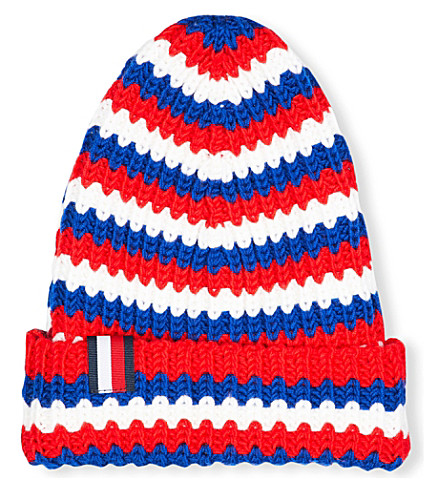 TOMMY HILFIGER Hilfiger Editions striped knitted beanie hat (Red/wht