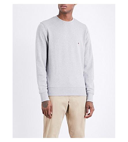 TOMMY HILFIGER Logo-embroidered cotton sweatshirt (Cloud+htr