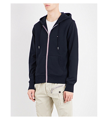 TOMMY HILFIGER Core striped-detail cotton-jersey hoody (Sky+captain