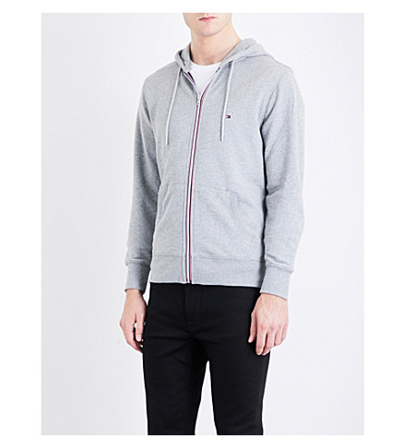 TOMMY HILFIGER Core striped-detail cotton-jersey hoody (Cloud+htr