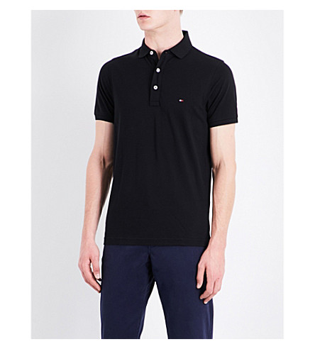 TOMMY HILFIGER Core slim-fit cotton-piqué polo shirt (Flag+black