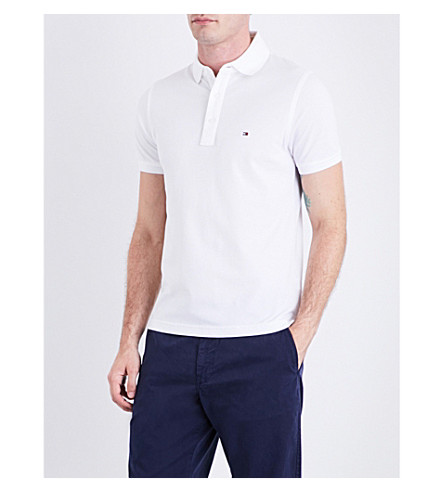 TOMMY HILFIGER Core slim-fit cotton-piqué polo shirt (Bright+white