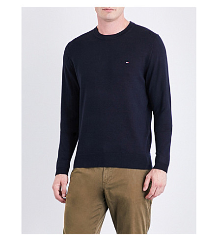 TOMMY HILFIGER Core fine-knit cotton and silk-blend jumper (Sky+captain