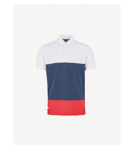 TOMMY HILFIGER Caleb cotton-piqué polo shirt (Bright+white+/+multi