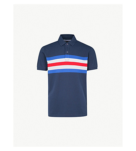 TOMMY HILFIGER Andrew regular-fit cotton-piqué polo shirt (Navy+blazer+/+multi