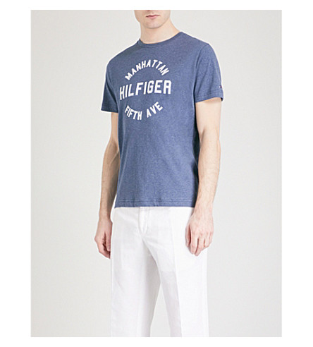 TOMMY HILFIGER Owen cotton-jersey T-shirt (Dark+denim+heather