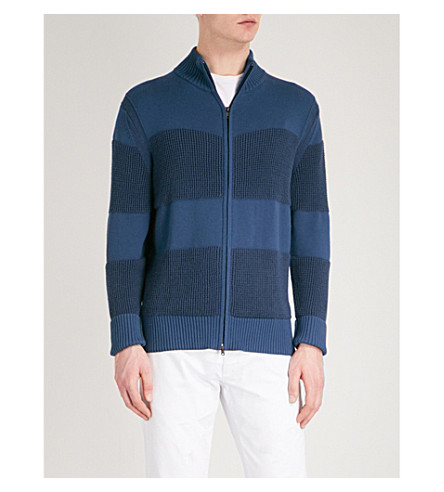 TOMMY HILFIGER Contrasting knitted zip-up jumper (Navy+blazer