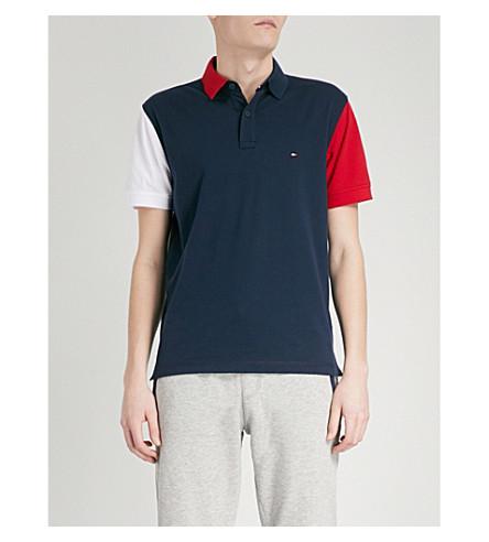 TOMMY HILFIGER Colour-block cotton polo shirt (Navy+blazer