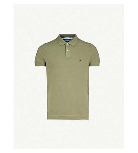 dd39f85ff0074 TOMMY HILFIGER Slim-fit cotton-piqué polo shirt (Four+leaf+clover