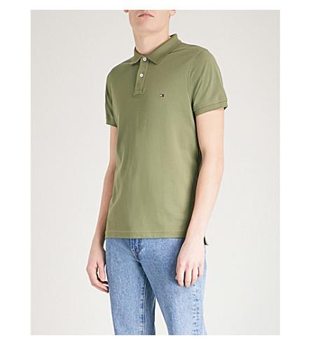 TOMMY HILFIGER Slim-fit cotton-piqué polo shirt (Four+leaf+clover