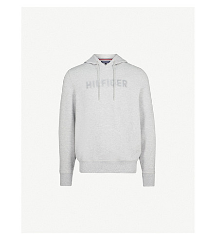 TOMMY HILFIGER Logo-detail textured cotton-blend hoody (Cloud+heather
