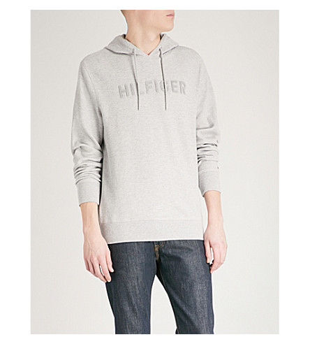 TOMMY HILFIGER Logo-detail textured cotton-blend hoody (Cloud+heather