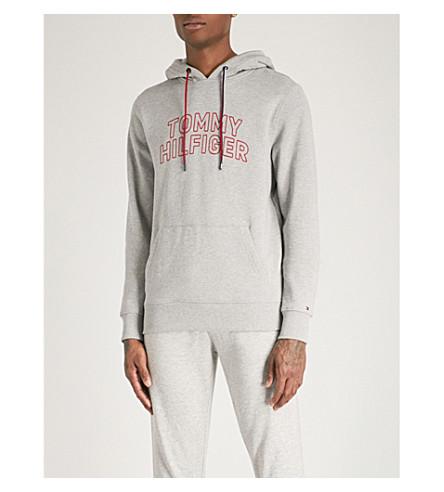 TOMMY HILFIGER Logo-print cotton-jersey hoody (Cloud+heather