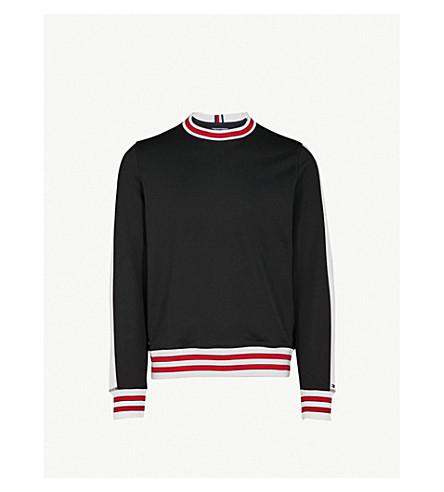 TOMMY HILFIGER Side-stripe jersey sweatshirt (Jet+black