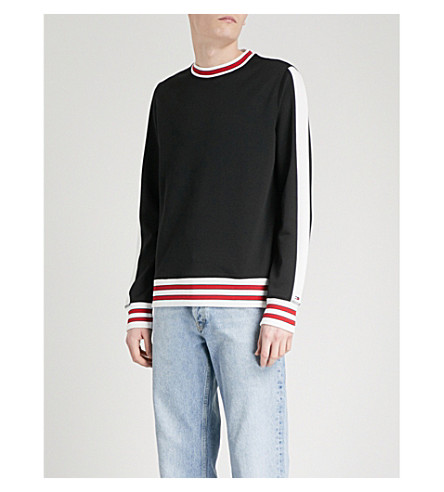 TOMMY HILFIGER Side-stripe jersey sweatshirt (Jet+black