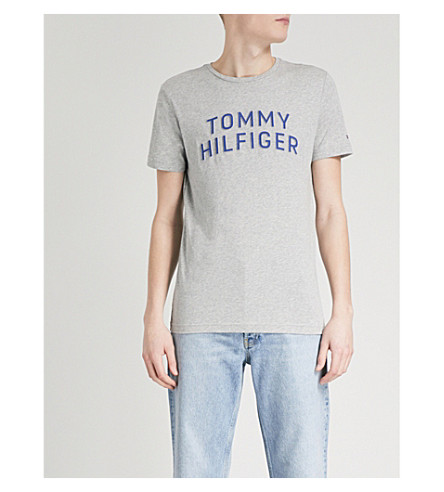 TOMMY HILFIGER Logo-print cotton-jersey T-shirt (Cloud+heather