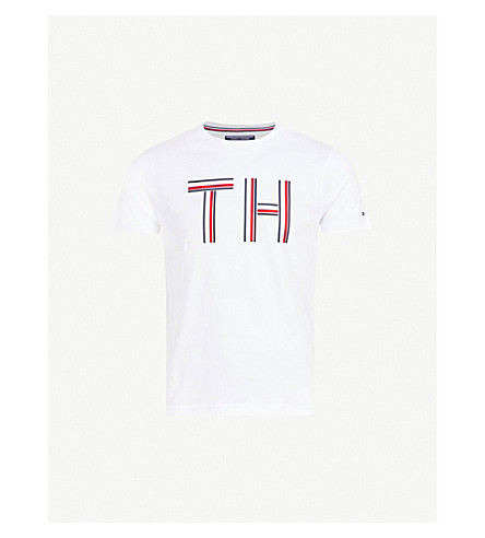 TOMMY HILFIGER Logo-print cotton-jersey T-shirt (Bright+white