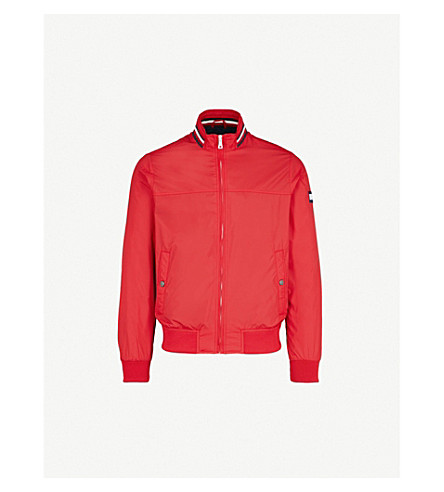 TOMMY HILFIGER Stripe-collar shell bomber jacket (Haute+red