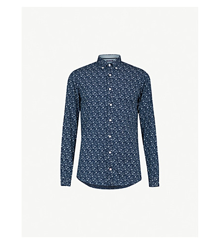 TOMMY HILFIGER Floral-print slim-fit cotton shirt (Indigo/bright+white